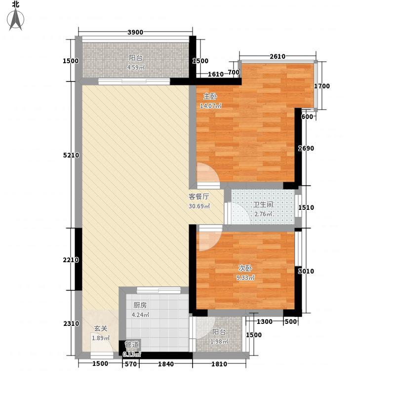 先成丽景天下83.30㎡小高层C2户型2室2厅1卫1厨