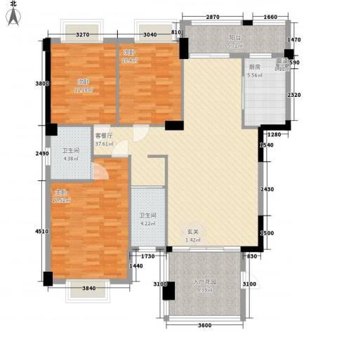 吉立・浅水湾3室1厅2卫1厨129.00㎡户型图