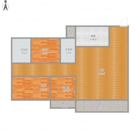 富康花园3室1厅2卫1厨90.91㎡户型图