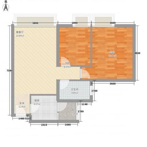 金泉花园2室1厅1卫1厨82.00㎡户型图