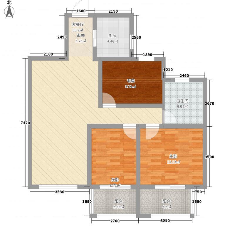 万家滨湖花园116.64㎡G户型3室2厅1卫