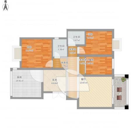 海关宿舍3室1厅2卫1厨117.00㎡户型图