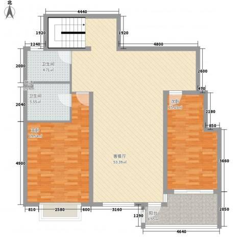 温莎公馆2室1厅2卫0厨147.00㎡户型图