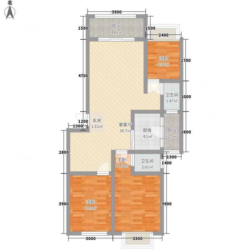 梧桐苑1.50㎡1#2单元301户型3室2厅2卫1厨