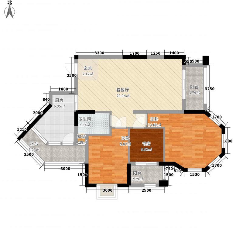 万豪城11.80㎡29-30号楼C户型3室2厅1卫1厨