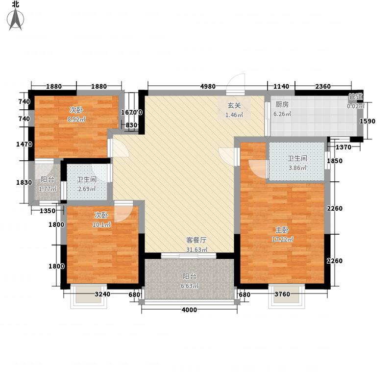 汉军龙江帝景22112.78㎡B2-2户型3室2厅2卫1厨