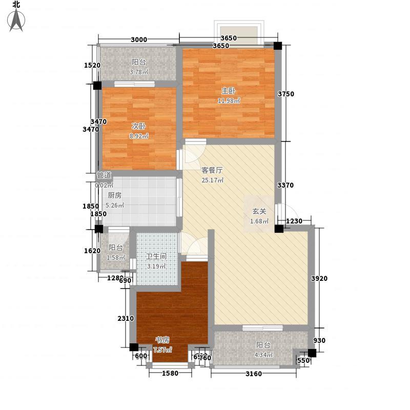 春风玫瑰园四期8.83㎡B2户型3室2厅1卫1厨