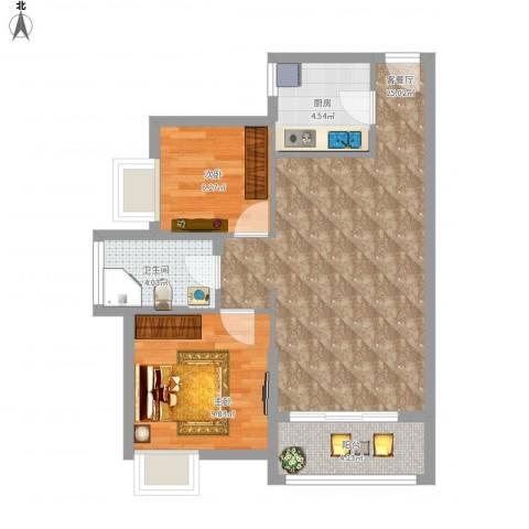 丽水佳园2室1厅1卫1厨77.00㎡户型图