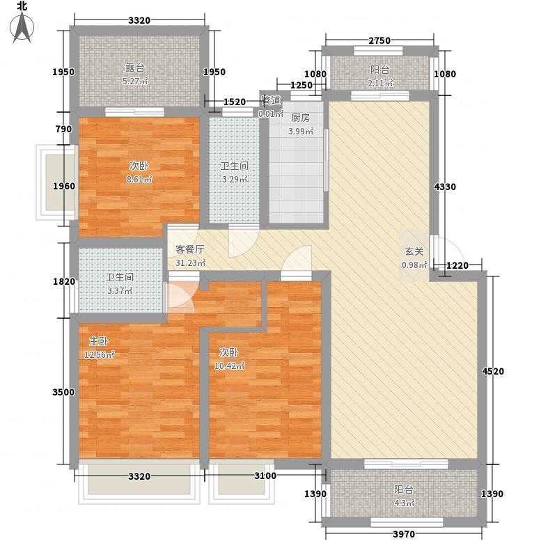 金洋・奥澜127.00㎡C4户型3室2厅2卫