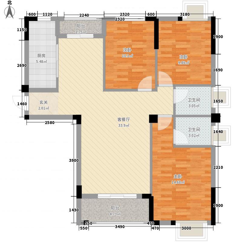西湖绿洲城122.38㎡A1户型3室2厅2卫