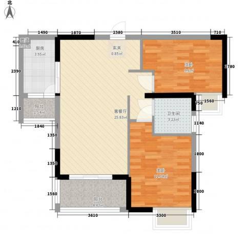 中环国际广场2室1厅1卫1厨59.95㎡户型图