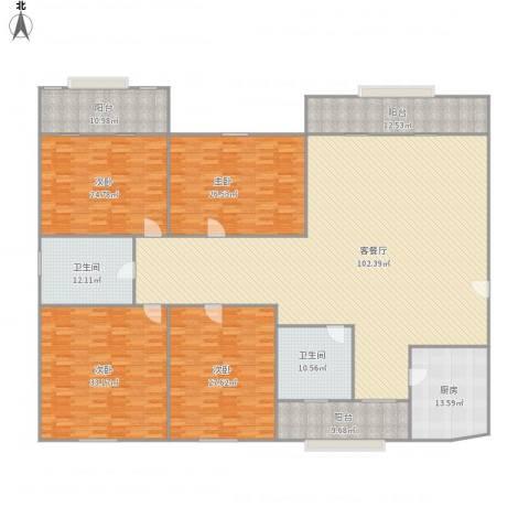 东湖花园一区4室1厅2卫1厨372.00㎡户型图