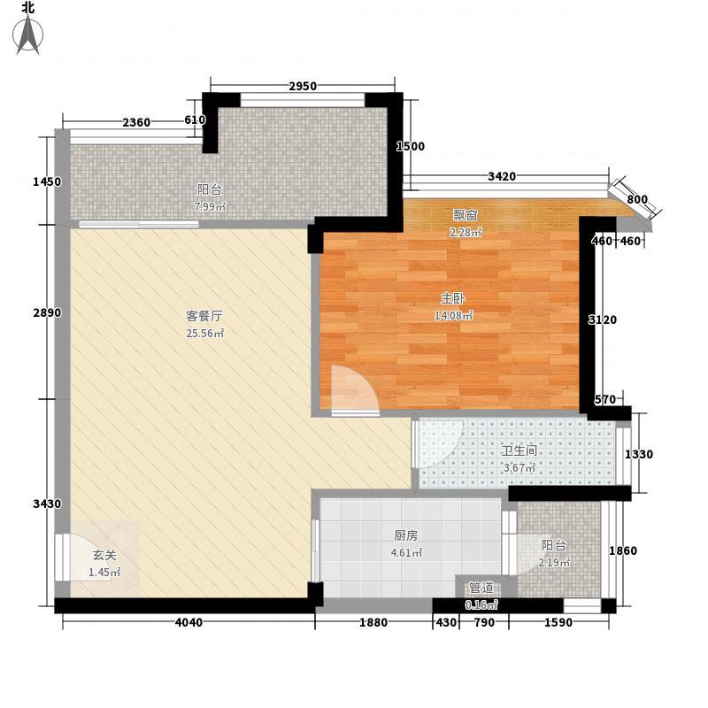悦盈新城82.00㎡10栋041+N户型1室2厅1卫1厨