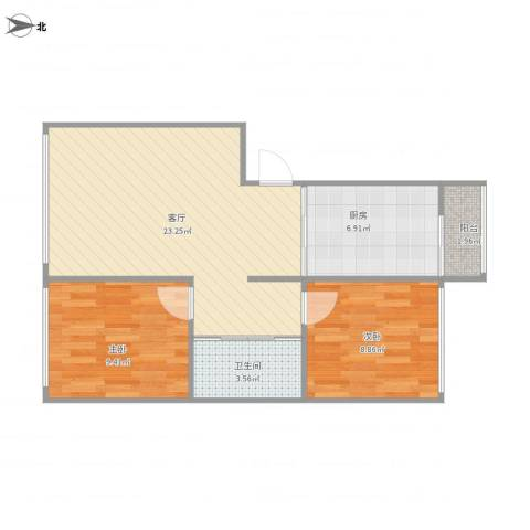 光机八区2室1厅1卫1厨73.00㎡户型图