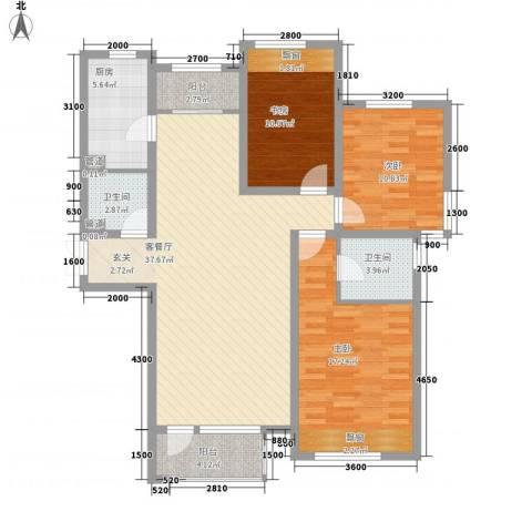 保利・香槟花园3室1厅2卫1厨137.00㎡户型图
