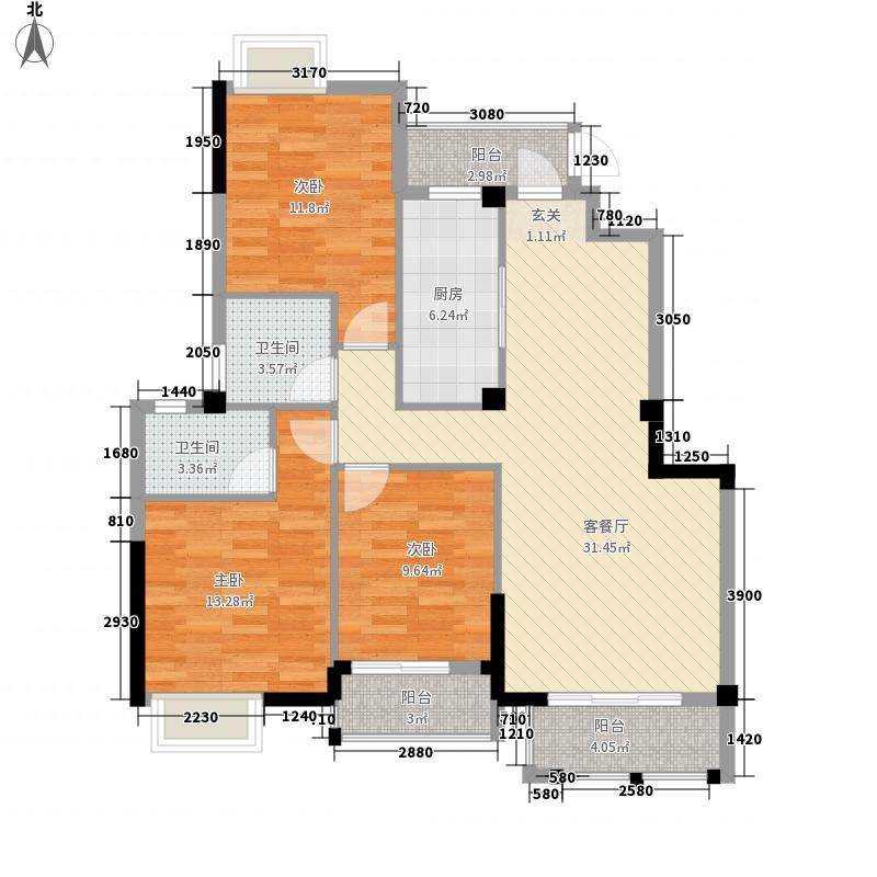 西湖绿洲城126.60㎡C1户型3室2厅2卫