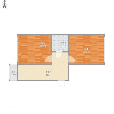 富锦路综合楼5楼2室1厅1卫1厨57.00㎡户型图