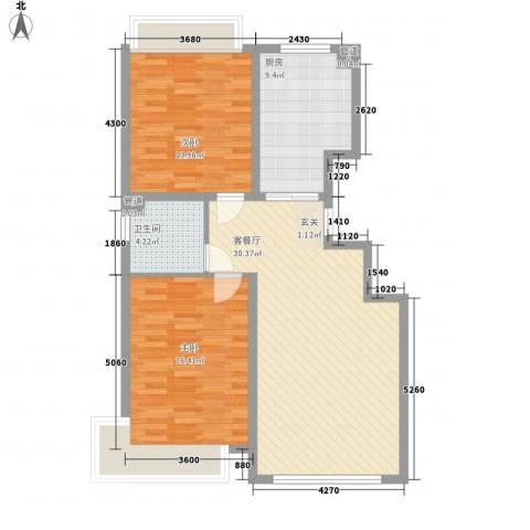 豪邦缇香公馆2室1厅1卫1厨106.00㎡户型图