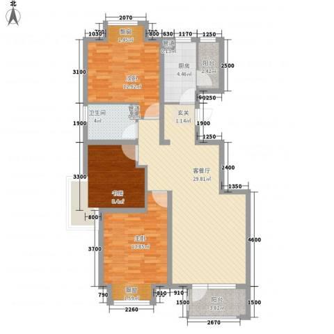 保利・香槟花园3室1厅1卫1厨114.00㎡户型图