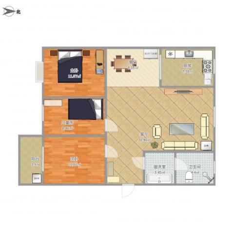 九江帝景3室3厅1卫1厨118.00㎡户型图