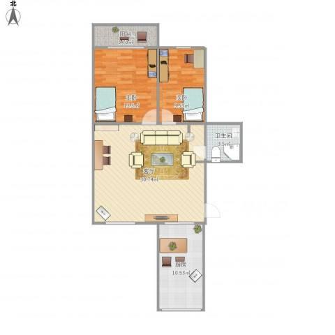 新科花园2室1厅1卫1厨95.00㎡户型图