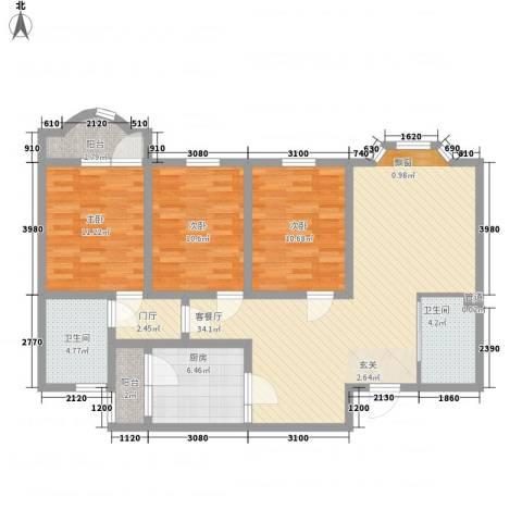 天乐嘉苑3室1厅2卫1厨129.00㎡户型图