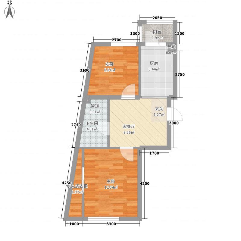 金龙家园56.70㎡户型2室1厅1卫1厨