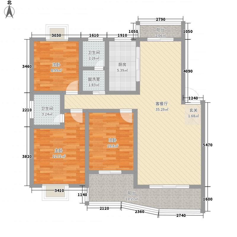 江南明珠135.56㎡户型3室2厅2卫