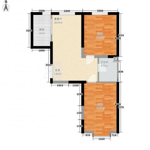 北大恒苑2室1厅1卫1厨79.00㎡户型图