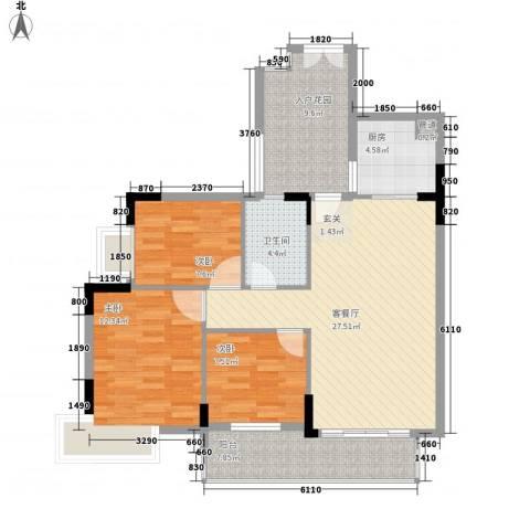 城蕊首府3室1厅1卫1厨103.00㎡户型图