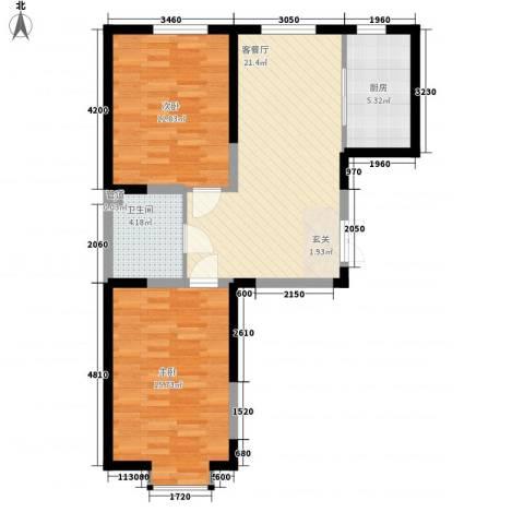 北大恒苑2室1厅1卫1厨84.00㎡户型图