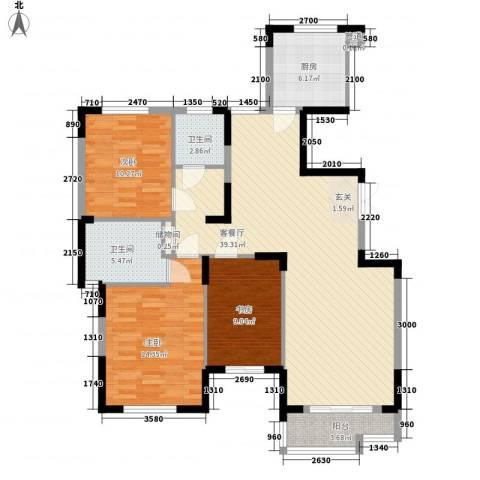 天鹅湖畔3室1厅2卫1厨155.00㎡户型图