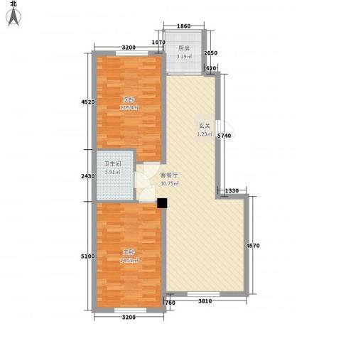 联发・香水湾2室1厅1卫1厨65.91㎡户型图