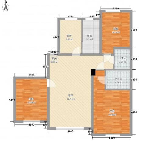 联发・香水湾3室2厅2卫1厨126.00㎡户型图