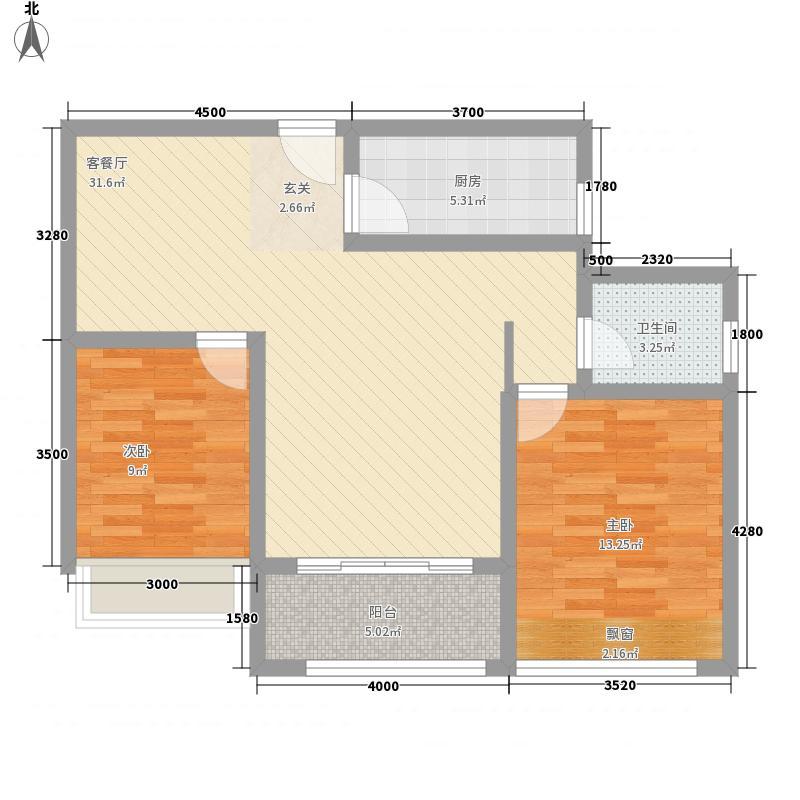 惠丰瑞城32216.76㎡D户型2室2厅1卫1厨