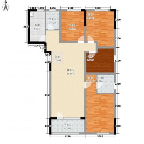 朗诗国际街区4室1厅3卫1厨155.00㎡户型图