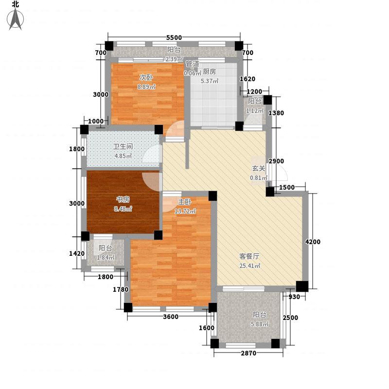 顺发泽润园11.00㎡B1户型3室2厅1卫1厨