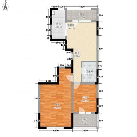 朗诗国际街区2室1厅1卫1厨72.77㎡户型图