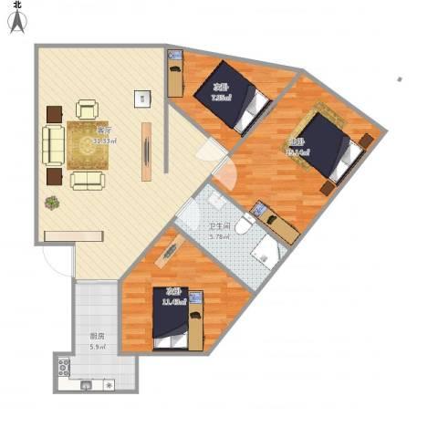 祥和苑C43室1厅1卫1厨104.00㎡户型图