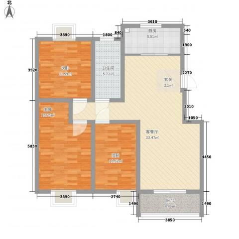 旺旺家缘3室1厅1卫1厨125.00㎡户型图