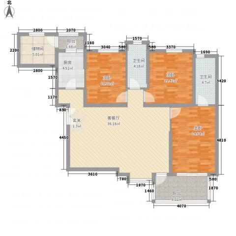联盟新城3室1厅2卫1厨98.77㎡户型图