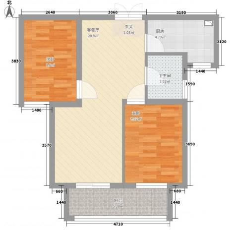 旺旺家缘2室1厅1卫1厨75.00㎡户型图