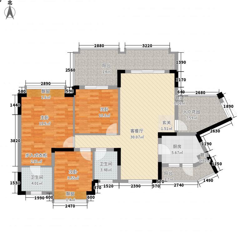 爱加西西里15.00㎡二期7-8号楼标准层E1户型3室2厅2卫1厨