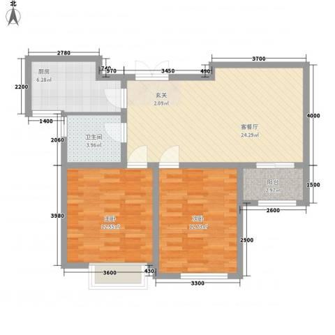 中汇城・御园2室1厅1卫1厨88.00㎡户型图