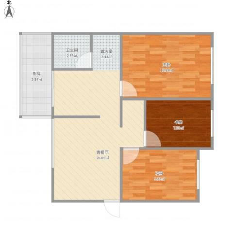 交菱公寓3室1厅1卫1厨89.00㎡户型图