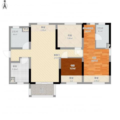 万科城市花园2室1厅2卫1厨110.00㎡户型图