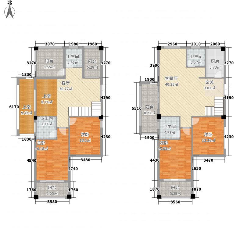 炜裕・时代广场186.80㎡低调奢华空中花园复式洋房户型4室3厅1厨
