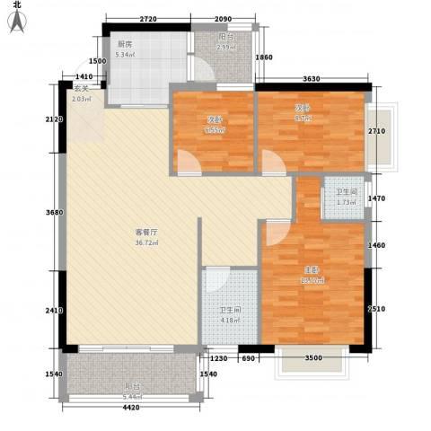 紫宸澜山3室1厅2卫1厨85.42㎡户型图