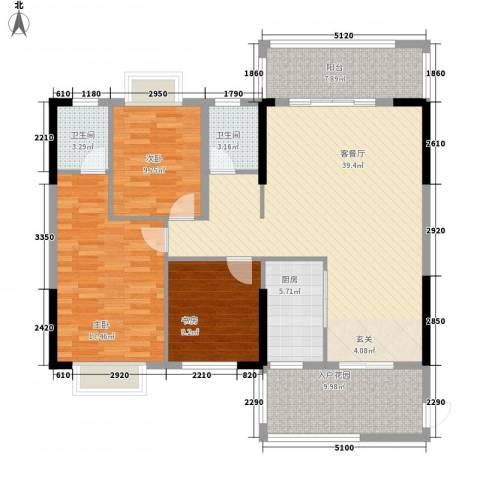 紫宸澜山3室1厅2卫1厨105.83㎡户型图
