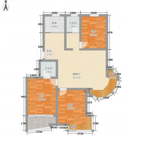 名桂坊3室1厅2卫1厨123.00㎡户型图